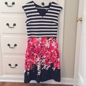 Striped/floral polyester/spandex dress